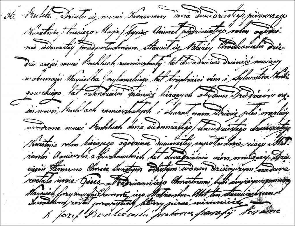 The Birth and Baptismal Record of Pius Chodkowski - 1850