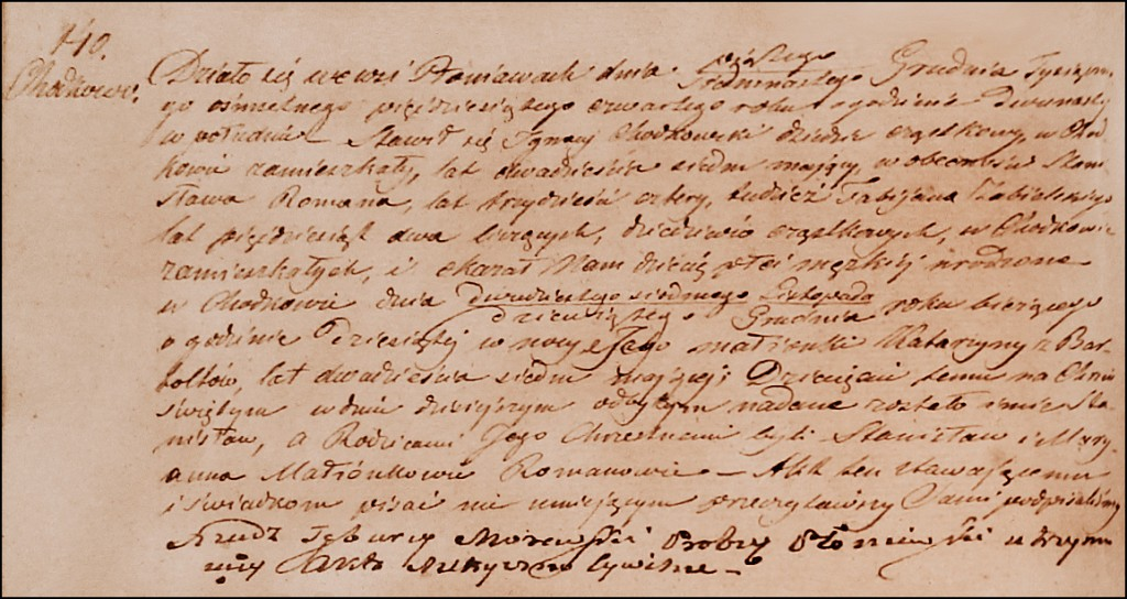 The Birth and Baptismal Record of Stanisław Chodkowski - 1854