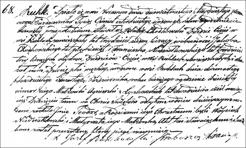 The Birth and Baptismal Record of Teodor Chodkowski - 1847