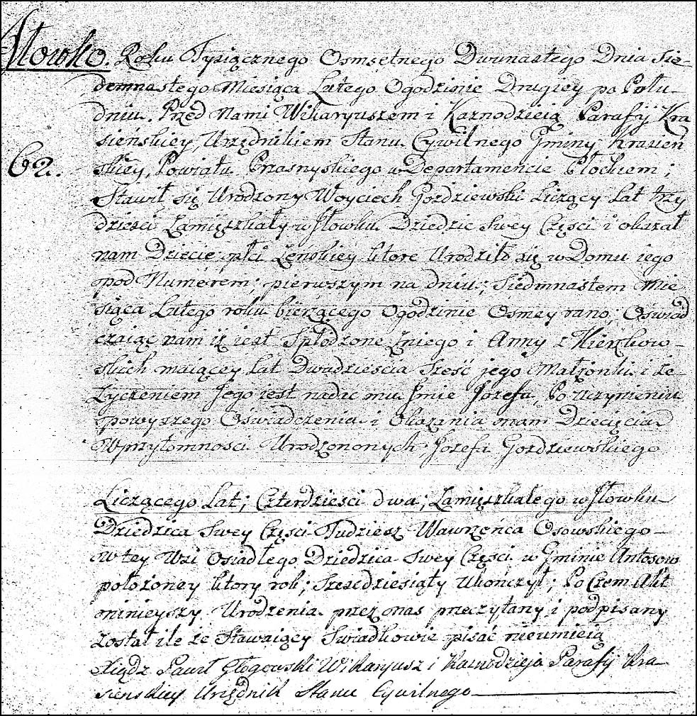The Birth and Baptismal Record of Józefa Gożdziewska - 1811