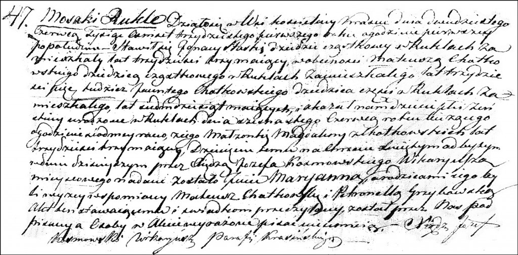 The Birth and Baptismal Record of Marianna Ślaska - 1831