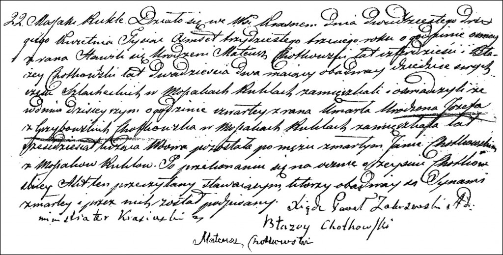 The Death and Burial Record of Józefata née Grzybowska Chodkowska - 1833