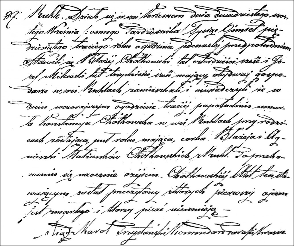 The Death and Burial Record of Konstancja Chodkowska - 1853