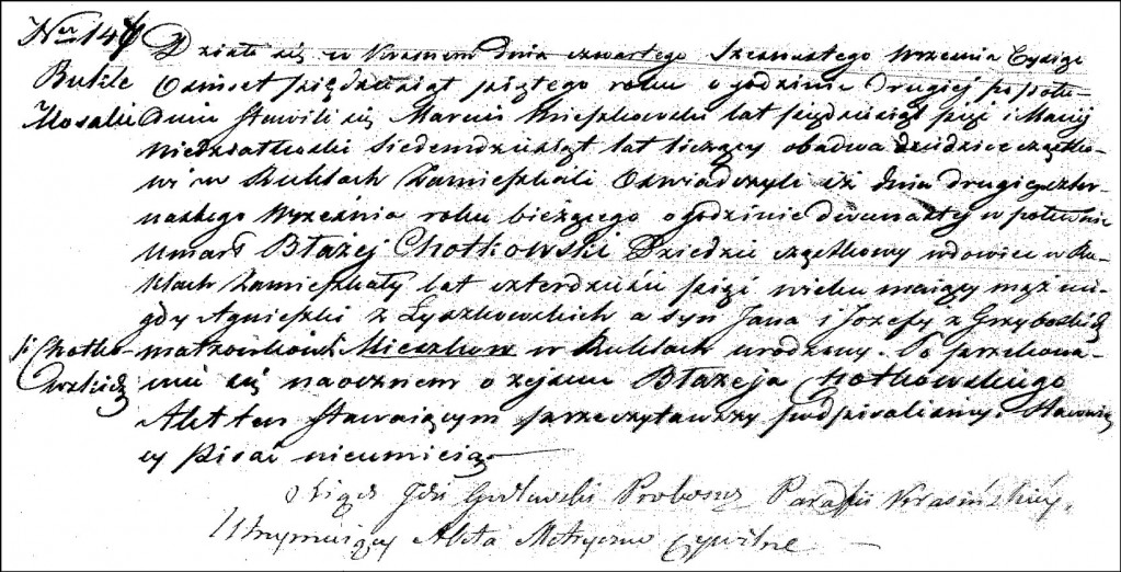 The Death and Burial Record of Błażej Chodkowski - 1855