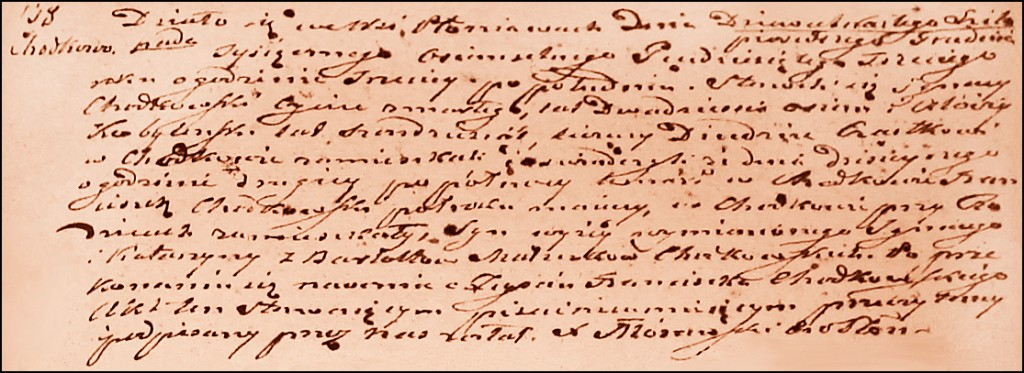 The Death and Burial Record of Franciszek Jakub Chodkowski - 1853