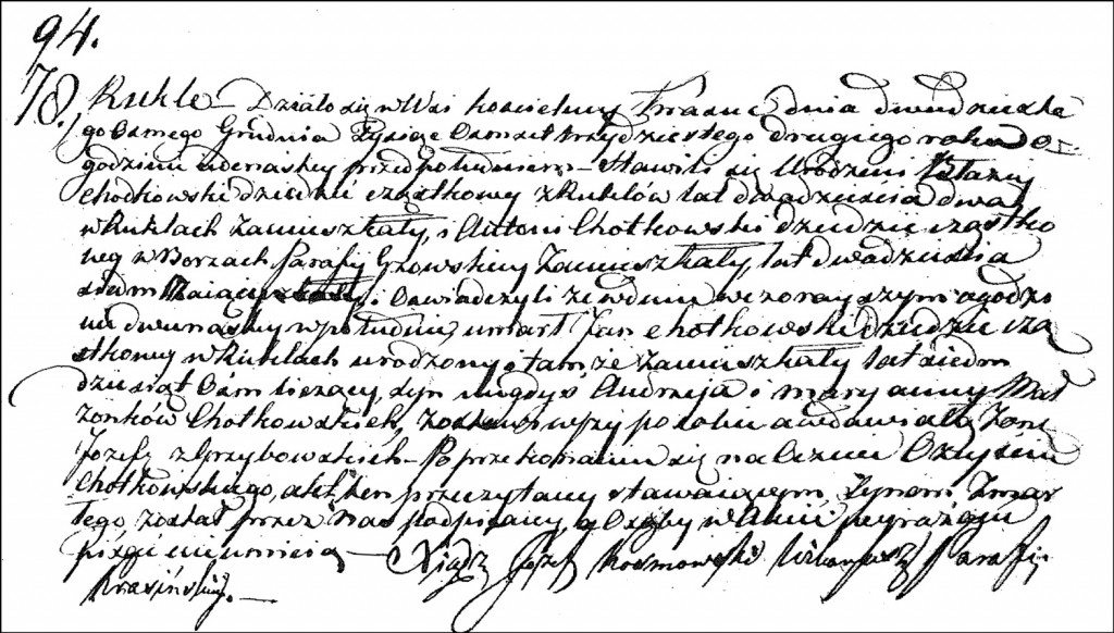 The Death and Burial Record of Jan Chodkowski - 1832