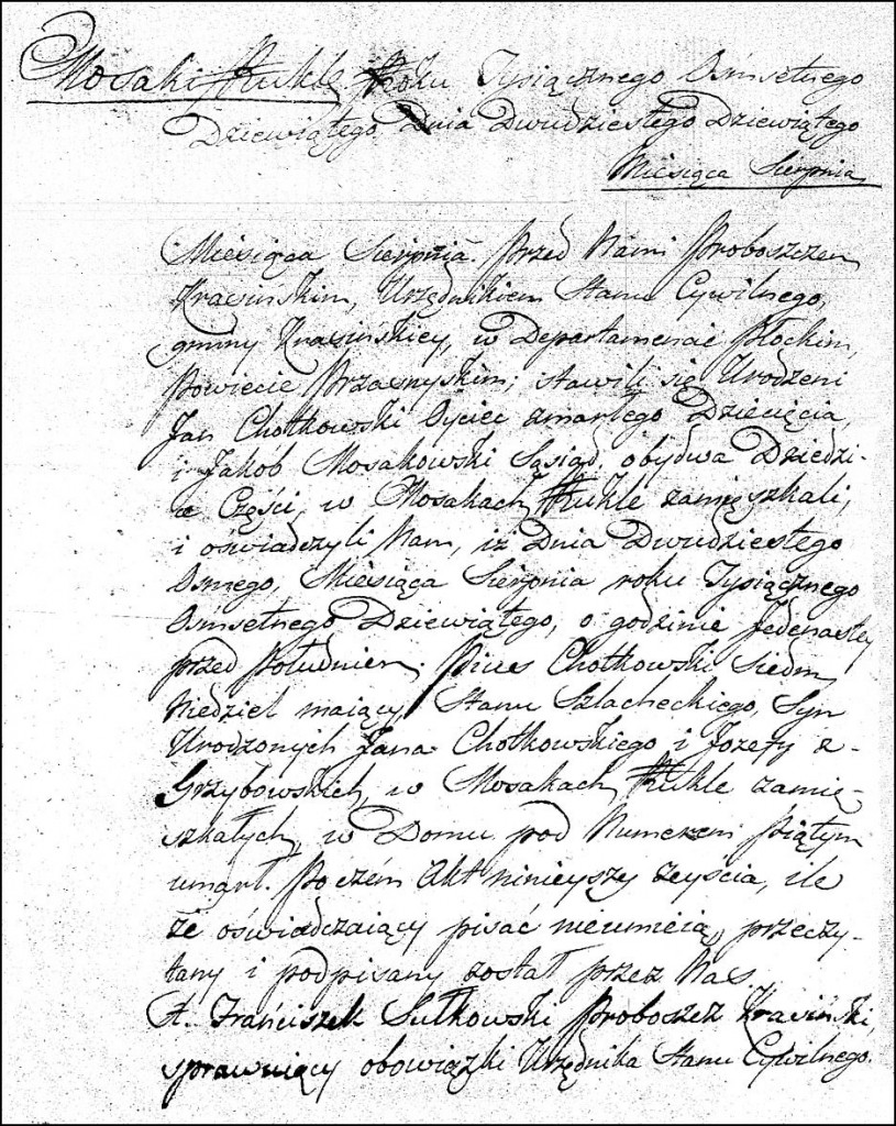 The Death and Burial Record of Pius Chodkowski - 1809