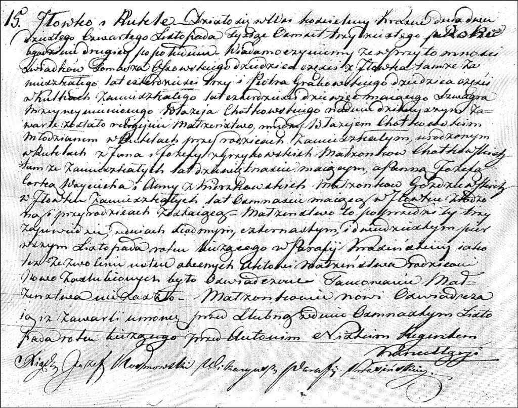 The Marriage Record of Błażej Chodkowski and Józefa Gożdziewska - 1830