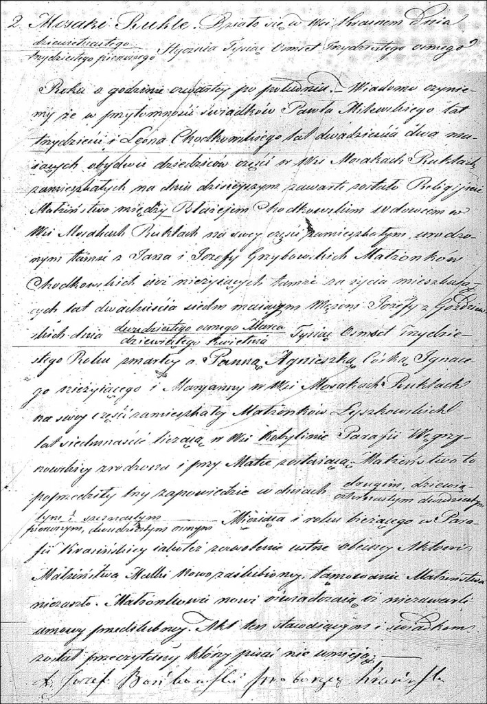 The Marriage Record of Błażej Chodkowski and Agnieszka Łyszkowska - 1838