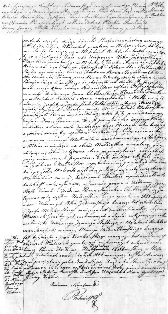 The Marriage Record of Ignacy Ślaski and Magdalena Chodkowska - 1817