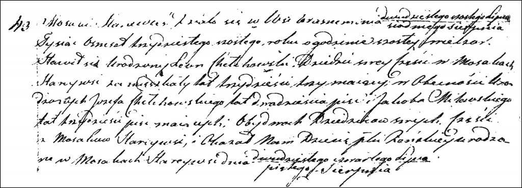 The Birth and Baptismal Record of Marianna Chełchowska - 1836