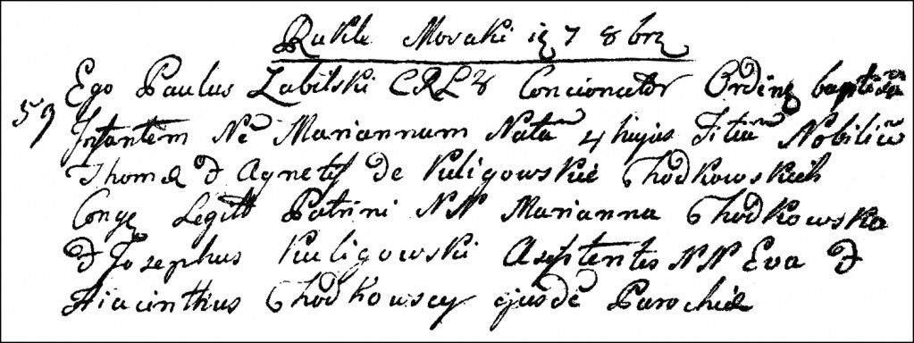 The Birth and Baptismal Record of Marianna Chodkowska - 1792