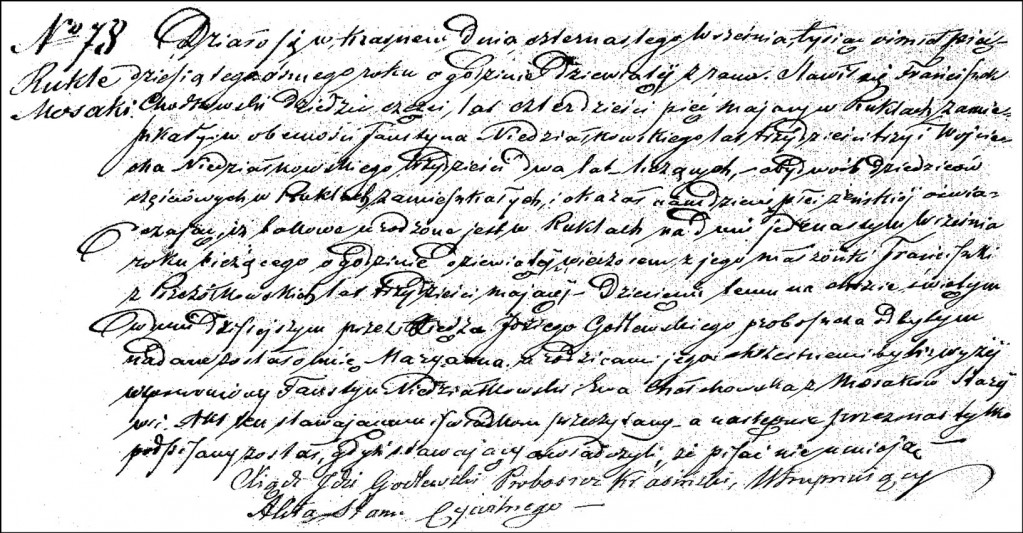 The Birth and Baptismal Record of Marianna Chodkowska - 1858