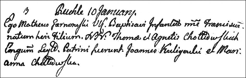 The Birth and Baptismal Record of Franciszek Chodkowski - 1802