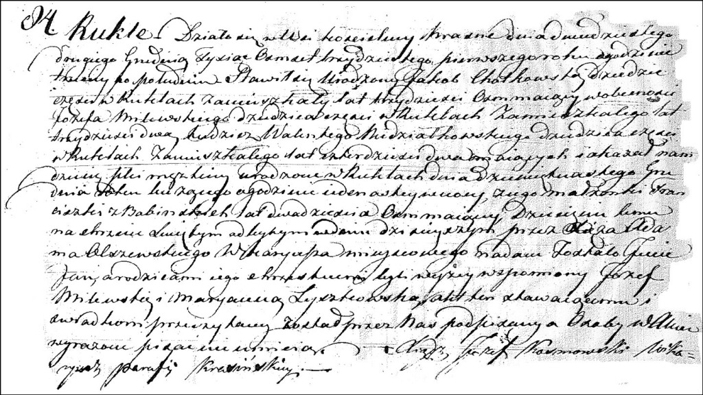 The Birth and Baptismal Record of Jan Chodkowski - 1831