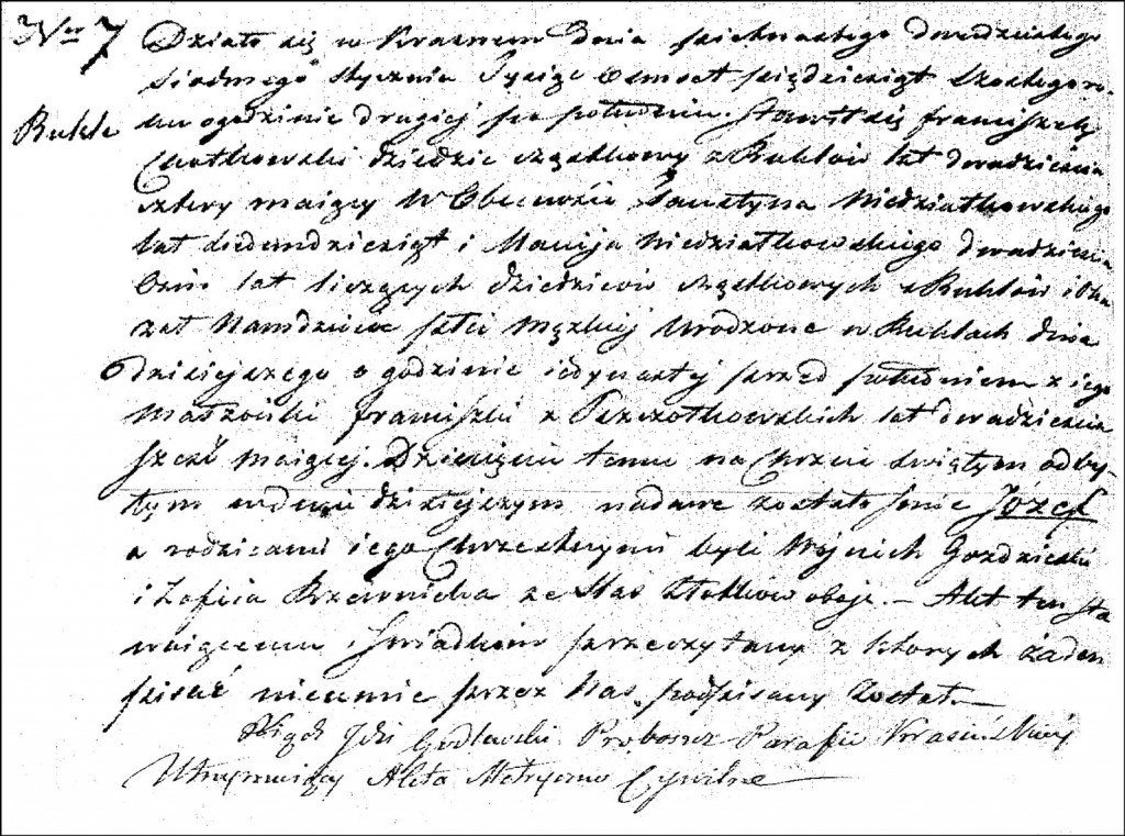 The Birth and Baptismal Record of Józef Chodkowski - 1856
