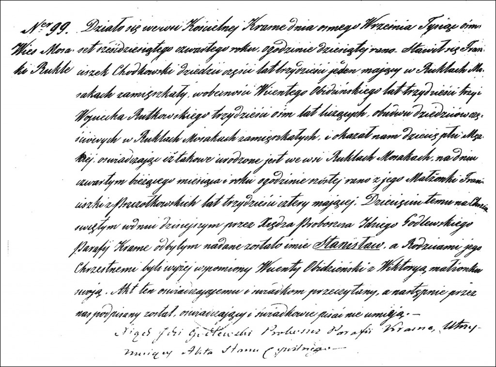 The Birth and Baptismal Record of Stanisław Chodkowski - 1864