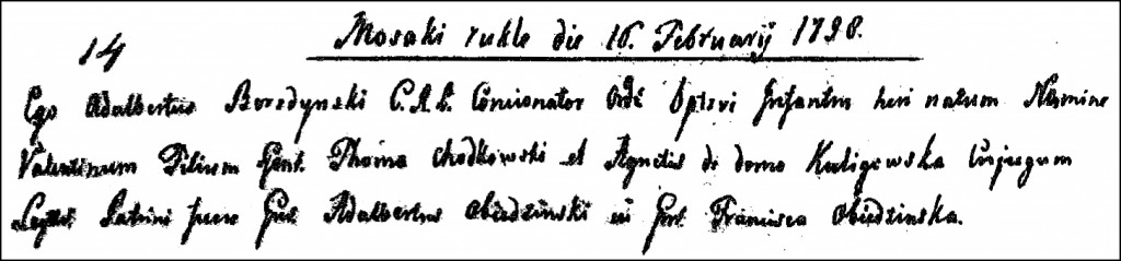 The Birth and Baptismal Record of Walenty Chodkowski - 1798