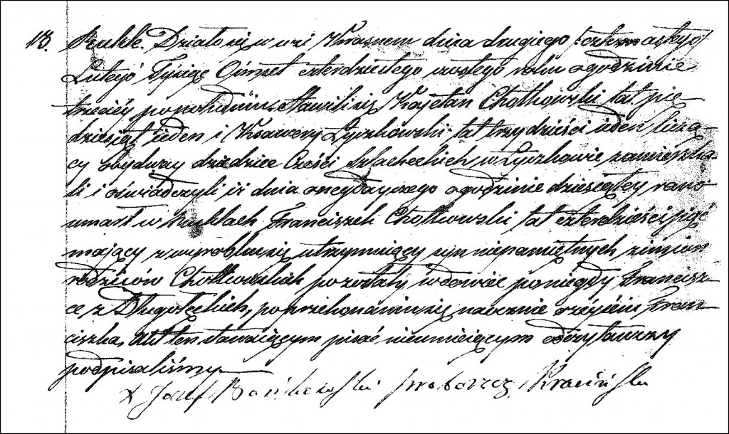 The Death and Burial Record of Franciszek Chodkowski - 1846