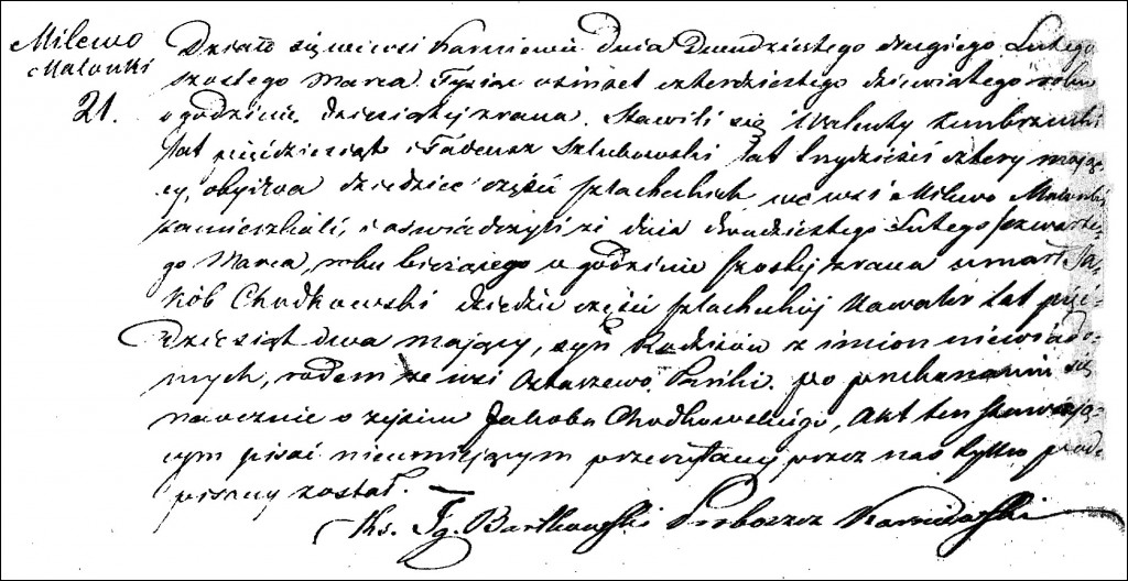 The Death and Burial Record of Jakub Chodkowski - 1849