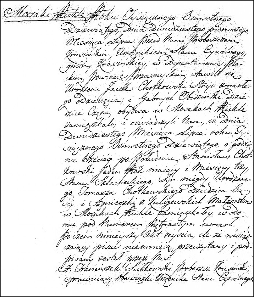 The Death and Burial Record of Stanisław Chodkowski - 1808