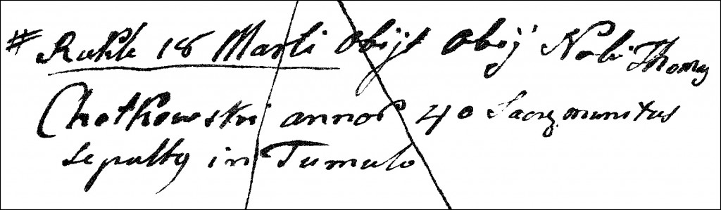 The Death and Burial Record of Tomasz Chodkowski - 1808
