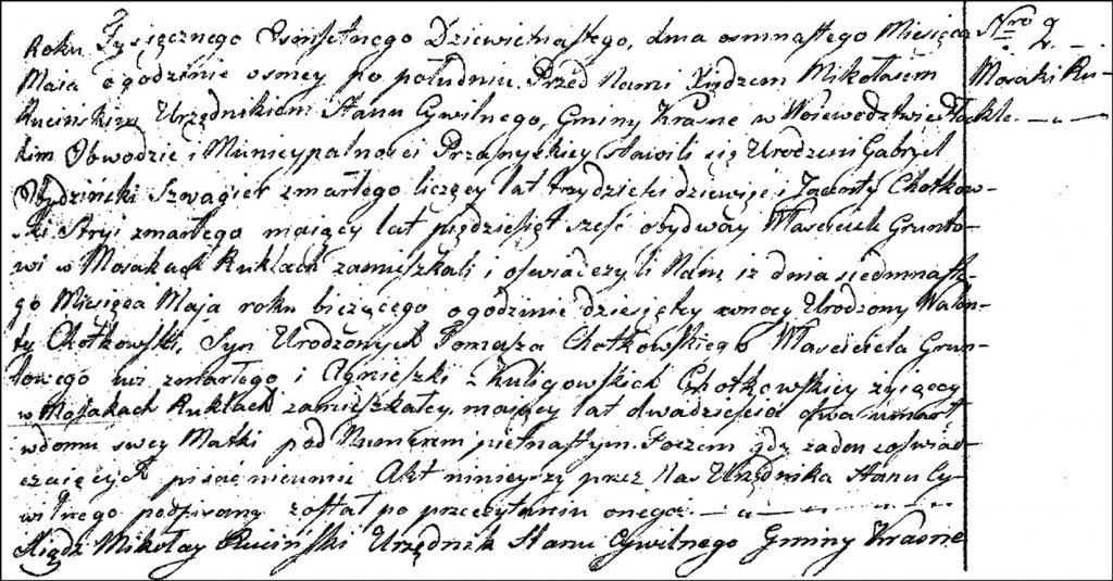 The Death and Burial Record of Walenty Chodkowski - 1819