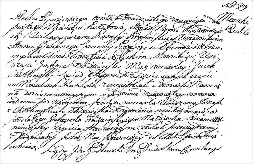 The Death and Burial Record of Józefa née Chodkowska Obidzińska - 1822