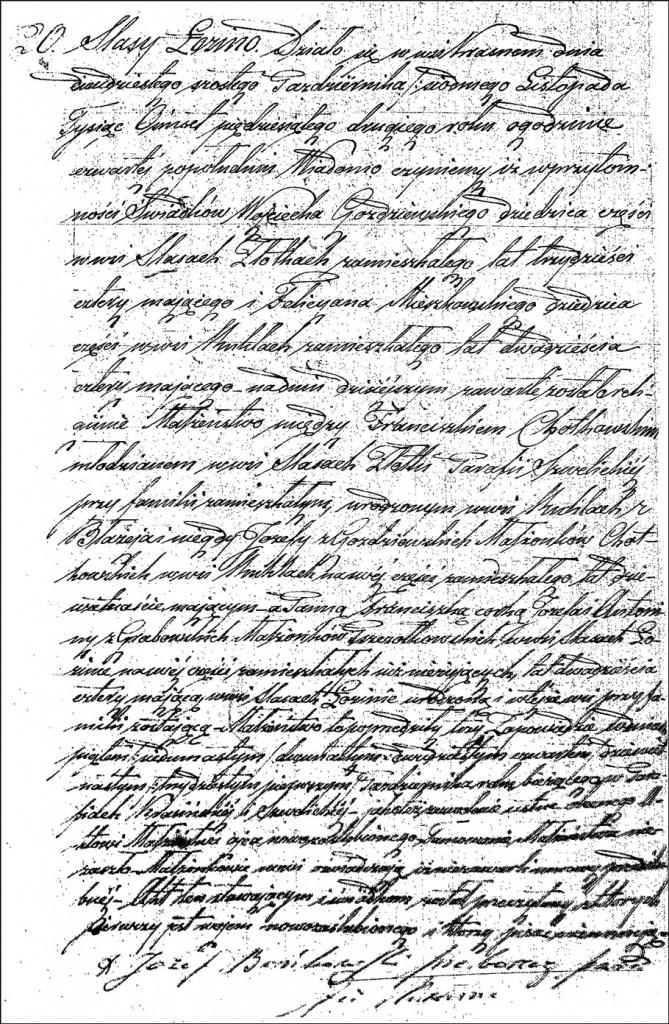 The Marriage Record of Franciszek Chodkowski and Franciszka Pszczółkowska - 1852