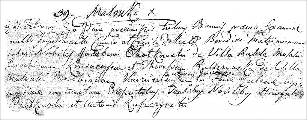 The Marriage Record of Jakub Chodkowski and Teresa Ruszczyńska - 1816