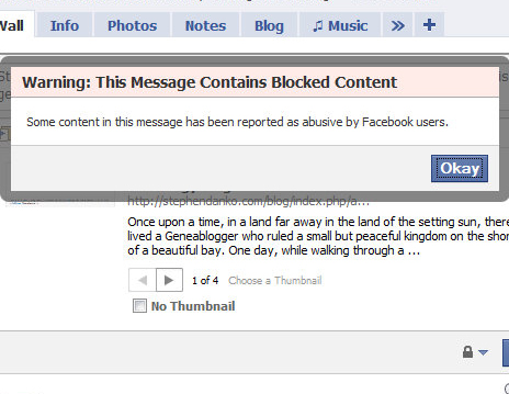 Blocked content on Facebook