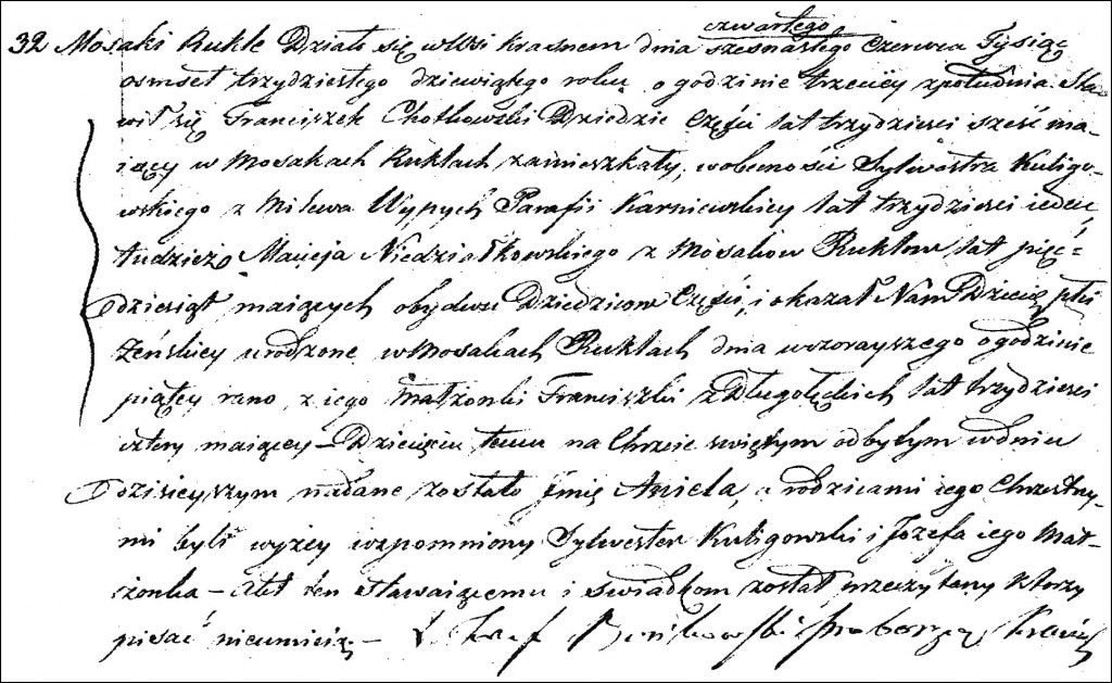 The Birth and Baptismal Record of Aniela Chodkowska - 1839