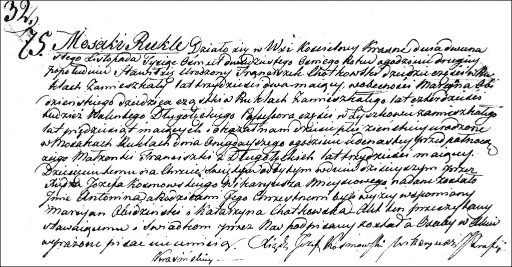 The Birth and Baptismal Record of Antonina Chodkowska - 1828