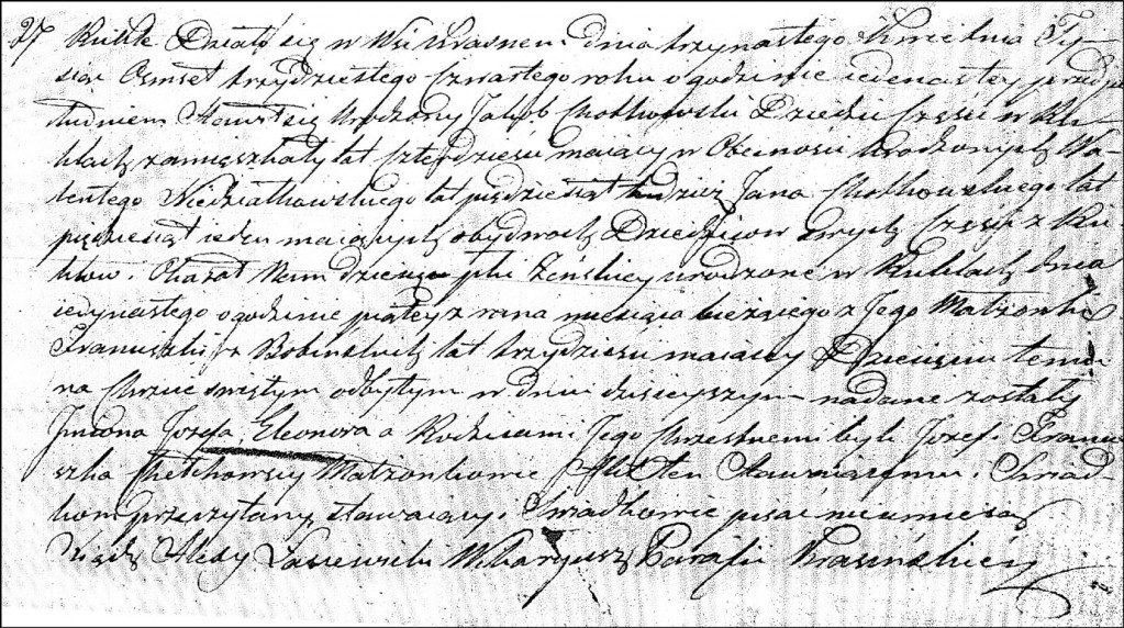 The Birth and Baptismal Record of Józefa Eleonora Chodkowska - 1834