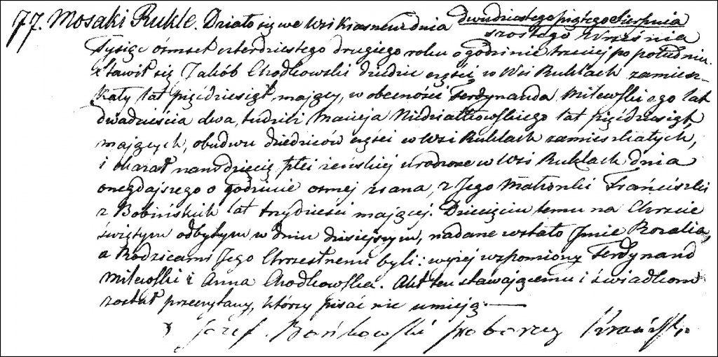 The Birth and Baptismal Record of Rozalia Chodkowska - 1842