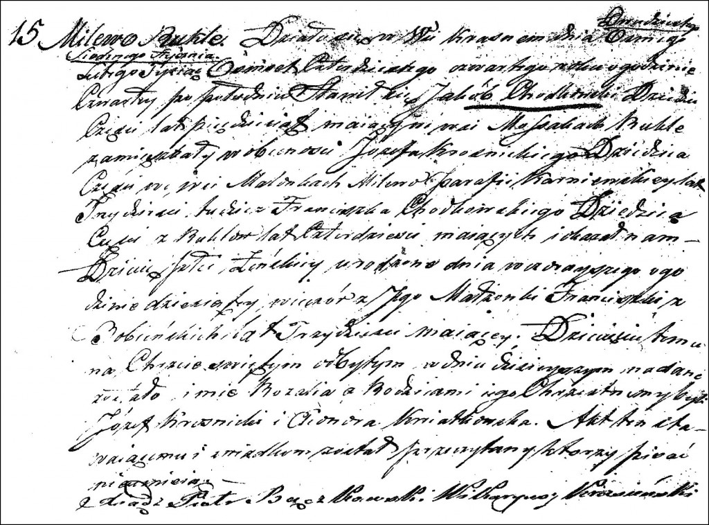 The Birth and Baptismal Record of Rozalia Chodkowska - 1844