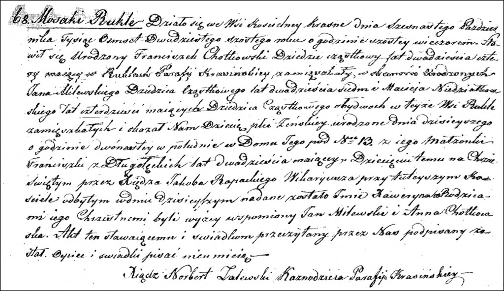 The Birth and Baptismal Record of Xaweryna Chodkowska - 1826