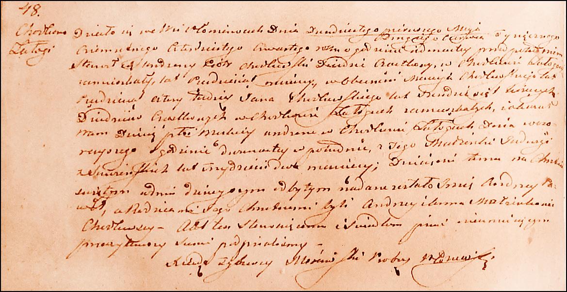 Birth and Baptismal Record for Andrzej Paweł Chodkowski – 1844