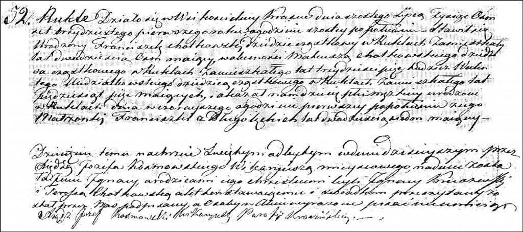 The Birth and Baptismal Record of Ignacy Chodkowski - 1831