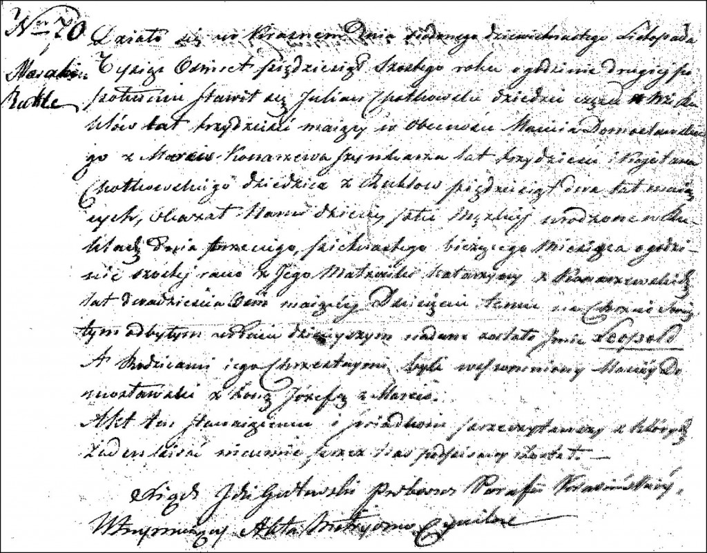 The Birth and Baptismal Record of Leopold Chodkowski - 1856