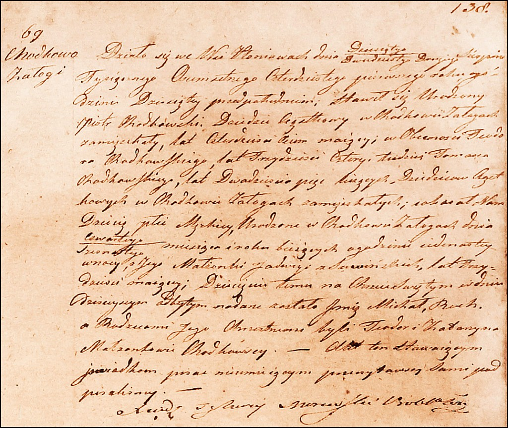 The Birth and Baptismal Record of Michał Roch Chodkowski - 1841