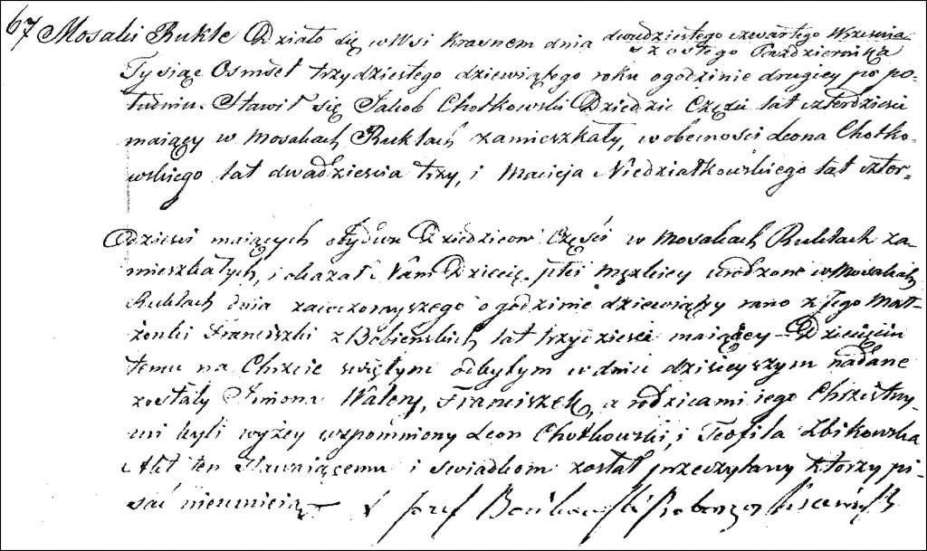 The Birth and Baptismal Record of Walery Franciszek Chodkowski - 1839