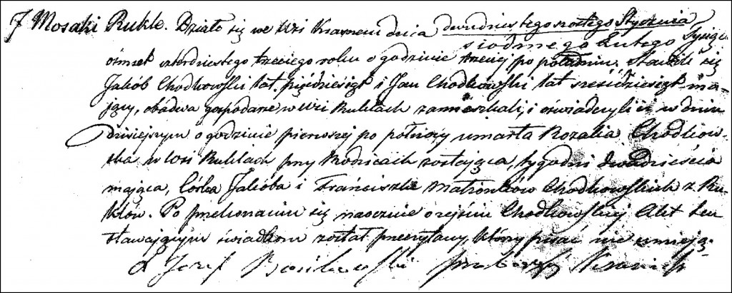 The Death and Burial Record of Rozalia Chodkowska - 1843