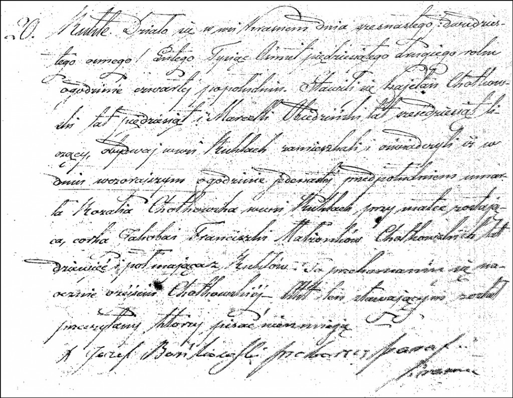 The Death and Burial Record of Rozalia Chodkowska - 1852