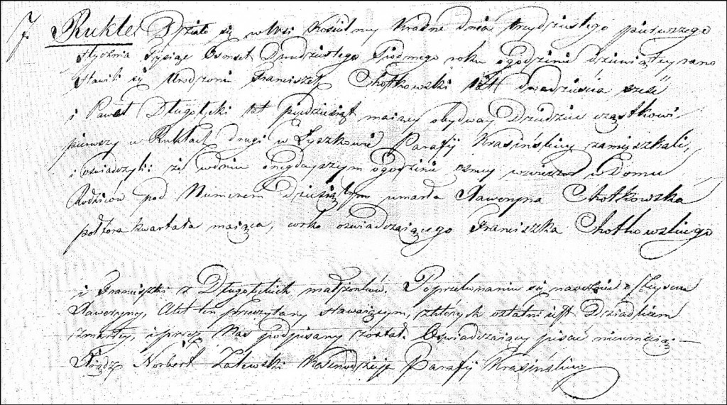 The Death and Burial Record of Xaweryna Chodkowska - 1827
