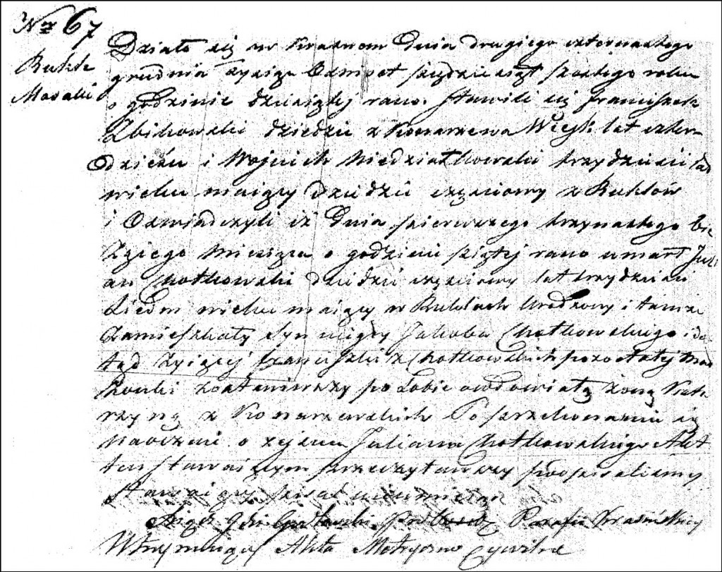 The Death and Burial Record of Julian Stanisław Chodkowski - 1856