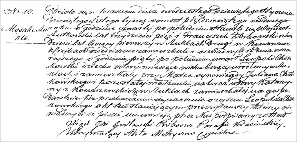 The Death and Burial Record of Leopold Chodkowski - 1857