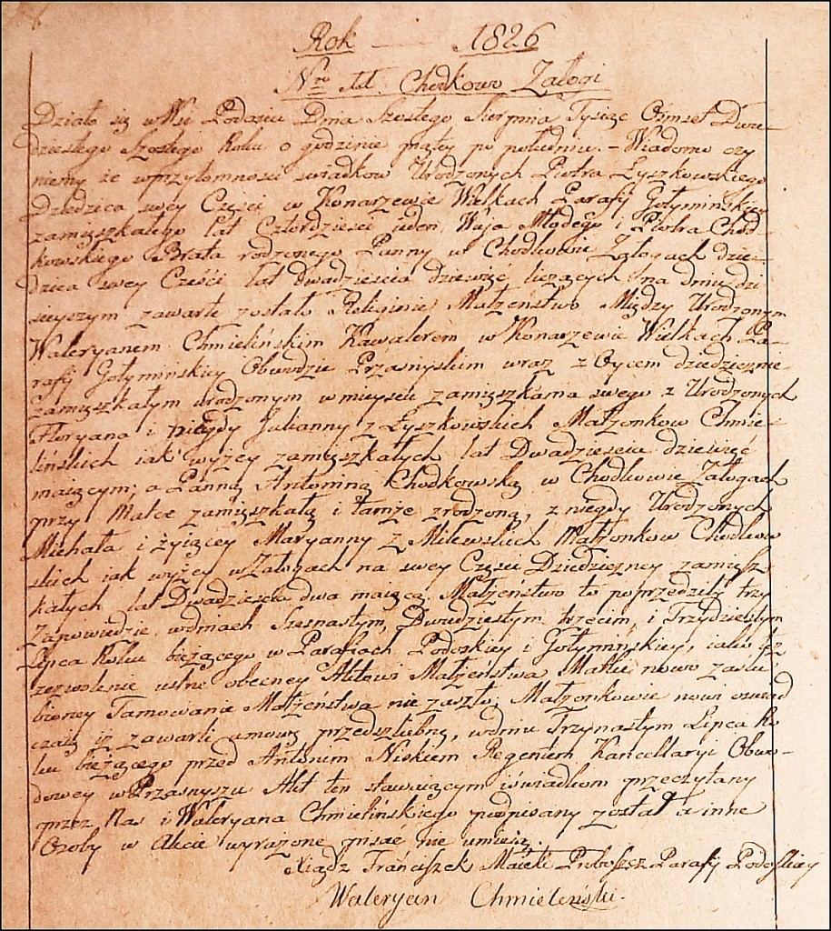 The Marriage Record of Walerian Chmieliński and Antonina Chodkowska - 1826
