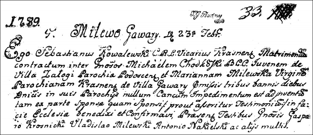The Marriage Record of Michał Chodkowski and Marianna Milewska - 1789