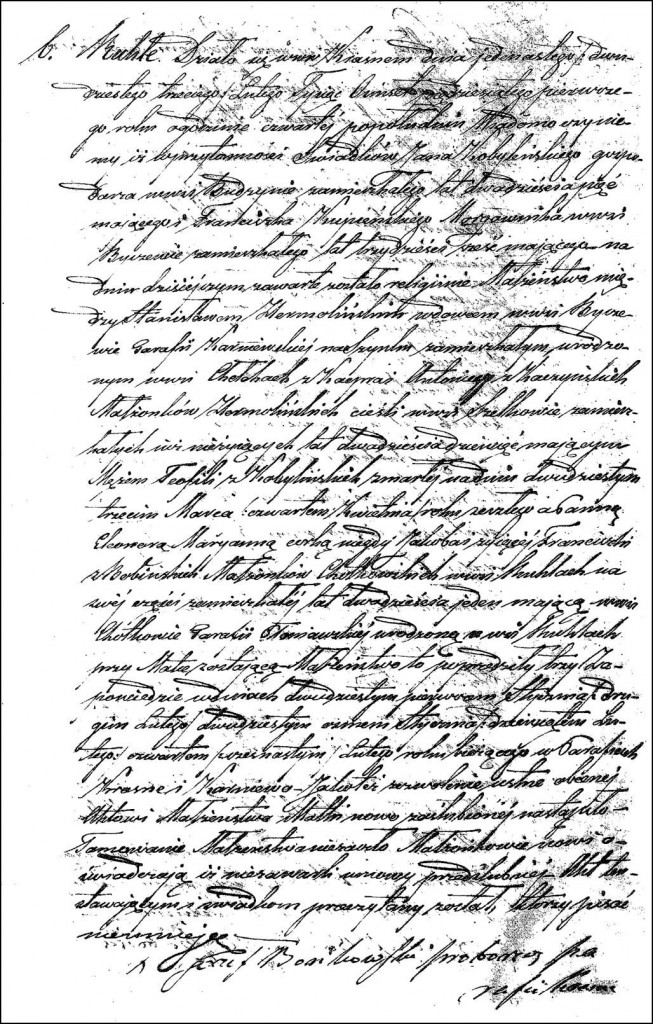 The Marriage Record of Stanisław Hermolinski and Eleonora Marianna Chodkowska - 1851